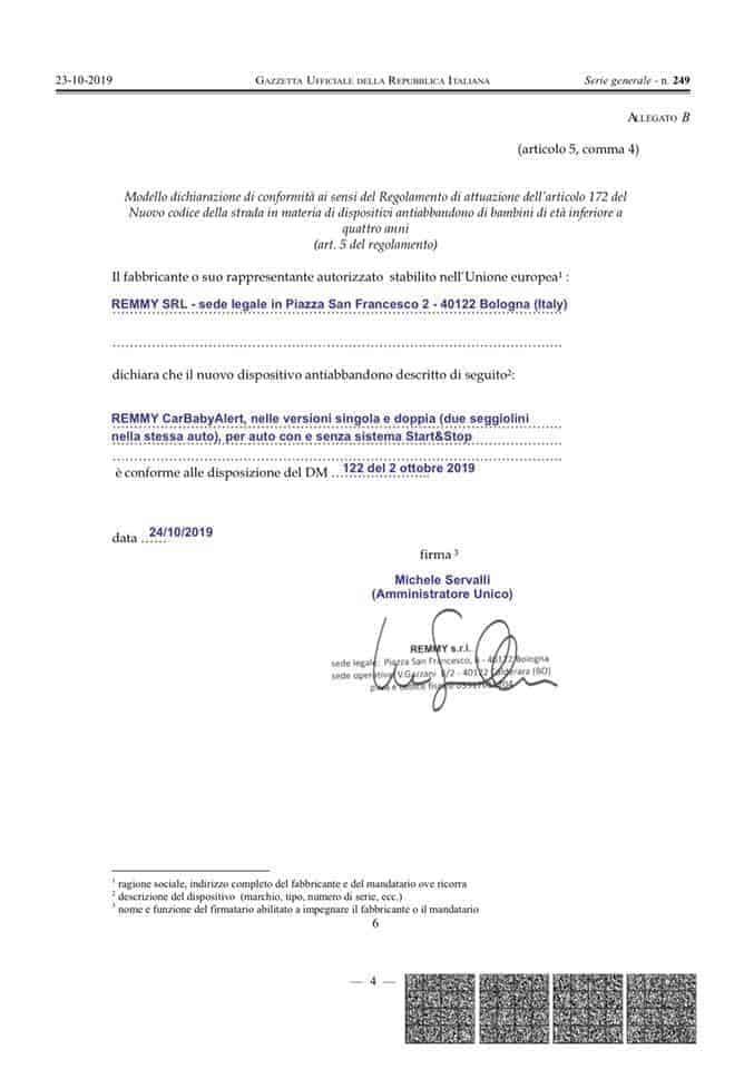 Remmy Certificato di conformità