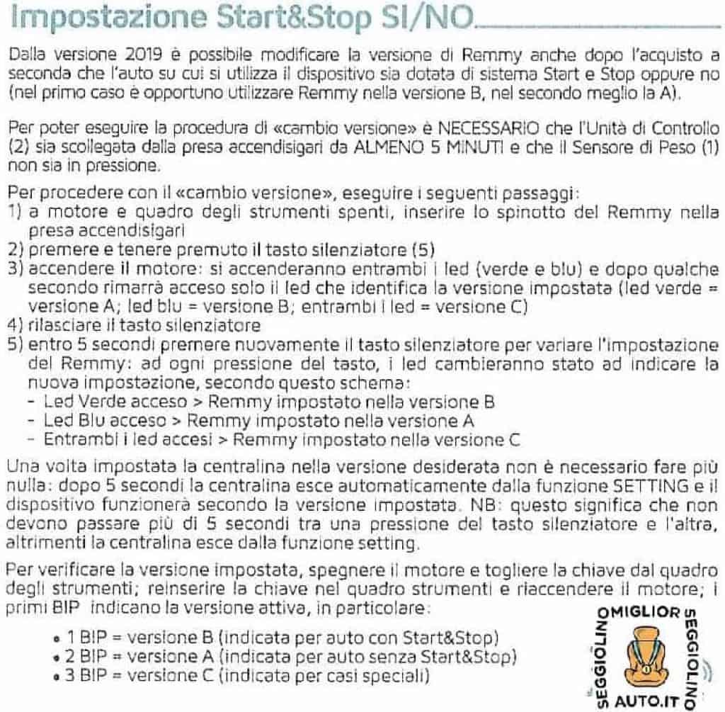 Remmy Istruzioni per Start&Stop